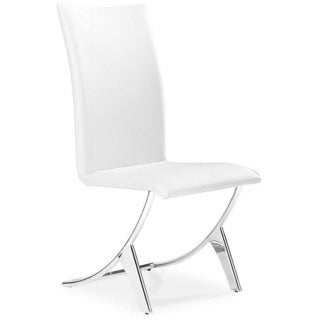 18-inch High Zuo 'Delfin' Chrome and Steel White Dining Chair (Set of 2)