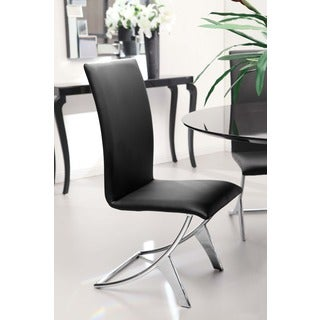 Delfin Black Leatherette 18-inch Seat Height Dining Chair (set of 2)