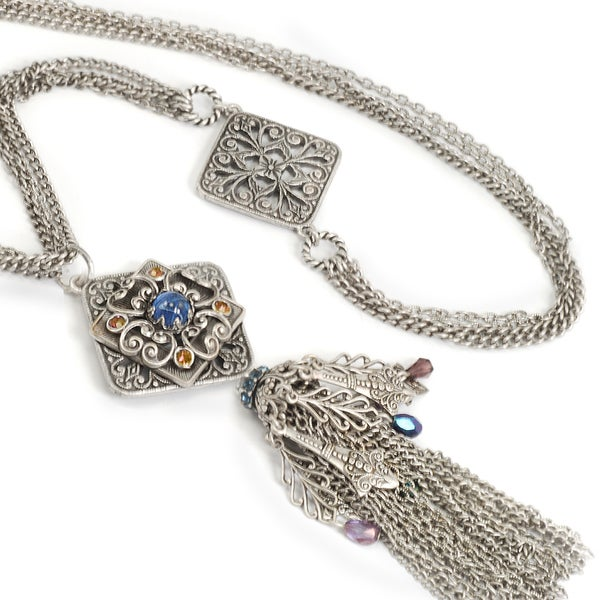 Sweet Romance Silver Filigree and Tassel Necklace