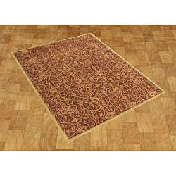 Alliyah Handmade Burgundy New Zealand Blend Wool Rug (9' x 12') - Thumbnail 1
