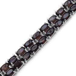 Malaika Sterling Silver Genuine Smoky Topaz Bracelet