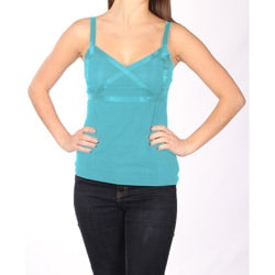 Norma Jeane Juniors Teal Satin Cross Tank