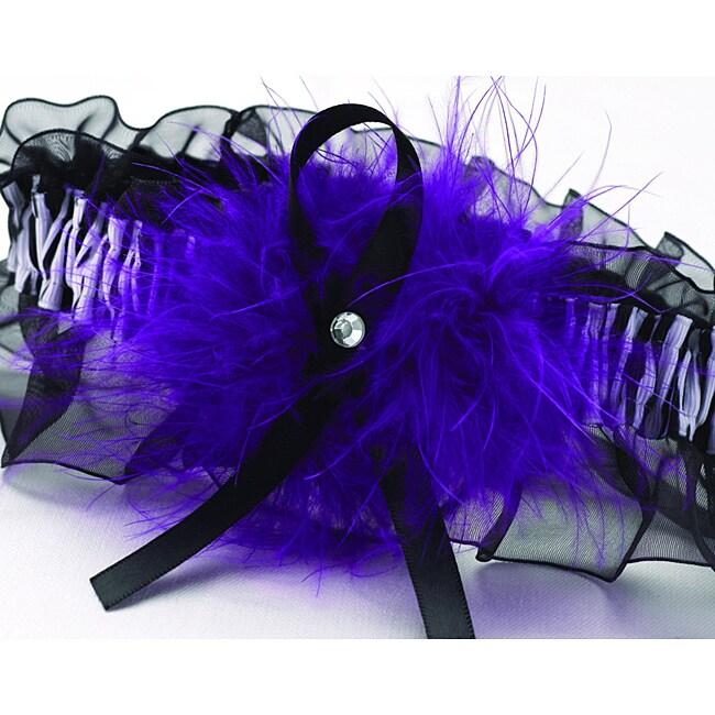 Purple Zebra Print Maribou Garter