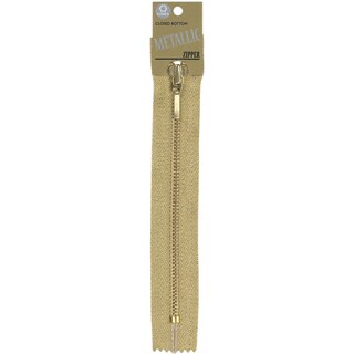 "Fashion Metallic Closed End Zipper 9""-Gold"