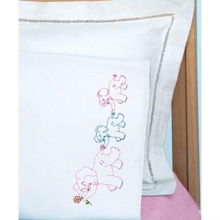 Children's Stamped Pillowcase With White Perle Edge 1/Pkg-Elephant Train
