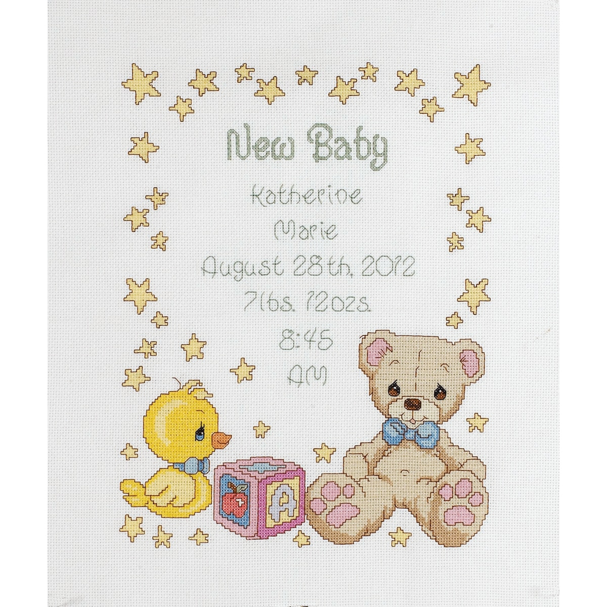 """Precious Moments Birth Record Counted Cross Stitch Kit-11""""X14"""" 14 Count"""