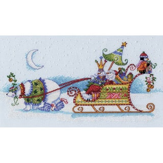 """Snow Bear And Sleigh Counted Cross Stitch Kit-14""""x8"""" 14 count"""