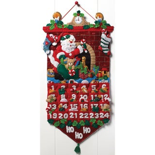Must Be Santa Advent Calendar Felt Applique Kit-13x25