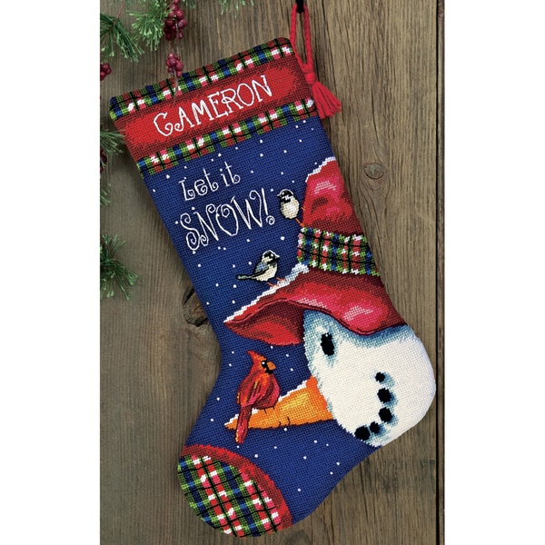 "Snowman Perch Needlepoint Kit-13""X20"" Stitched In Wool & Thread"