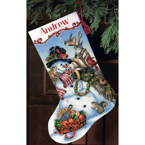 Dimensions Gold Collection Snowman Gathering Counted Cross Stitch Stocking Kit