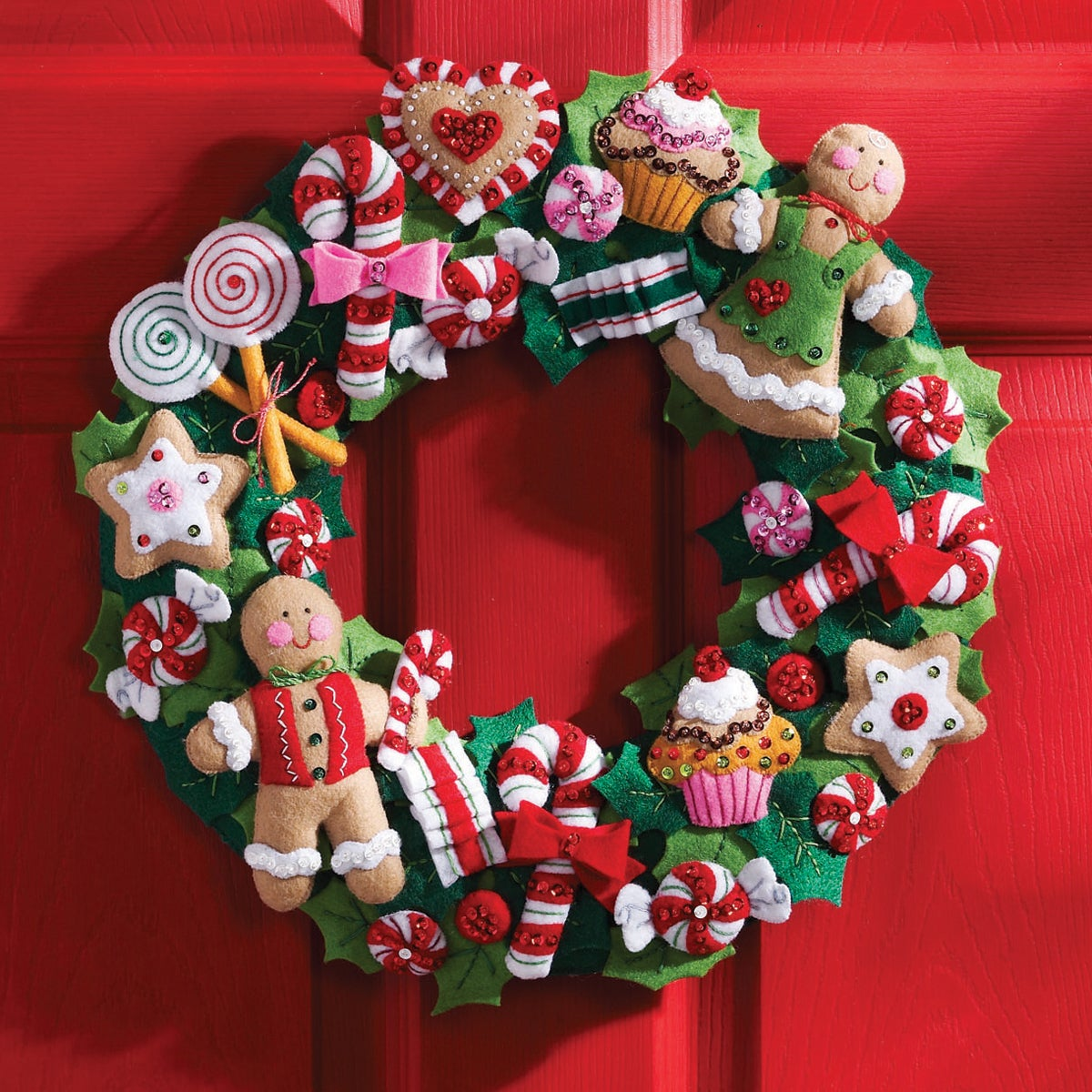 "Bucilla Cookies & Candy Wreath Felt Applique Kit-15""X15"" ..."