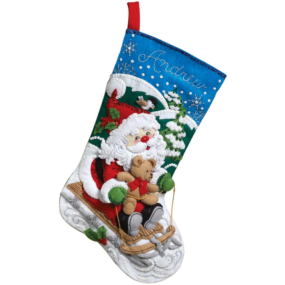 """Santa's Sled Stocking Felt Applique Kit-18"""" Long"""