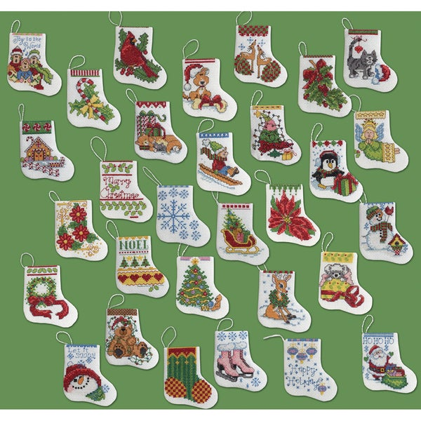 More Tiny Stockings Ornaments Counted Cross Stitch Kit-2-1/2X3 14 Count Set Of 30