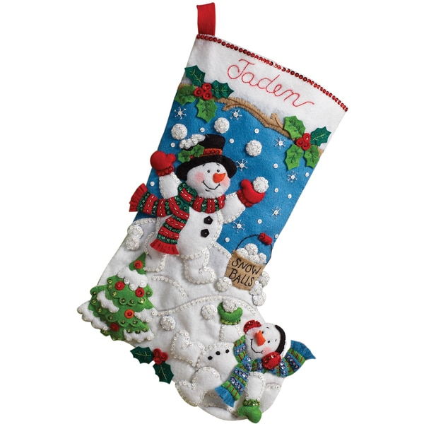 "Snowman Games Stocking Felt Applique Kit-18"" Long"