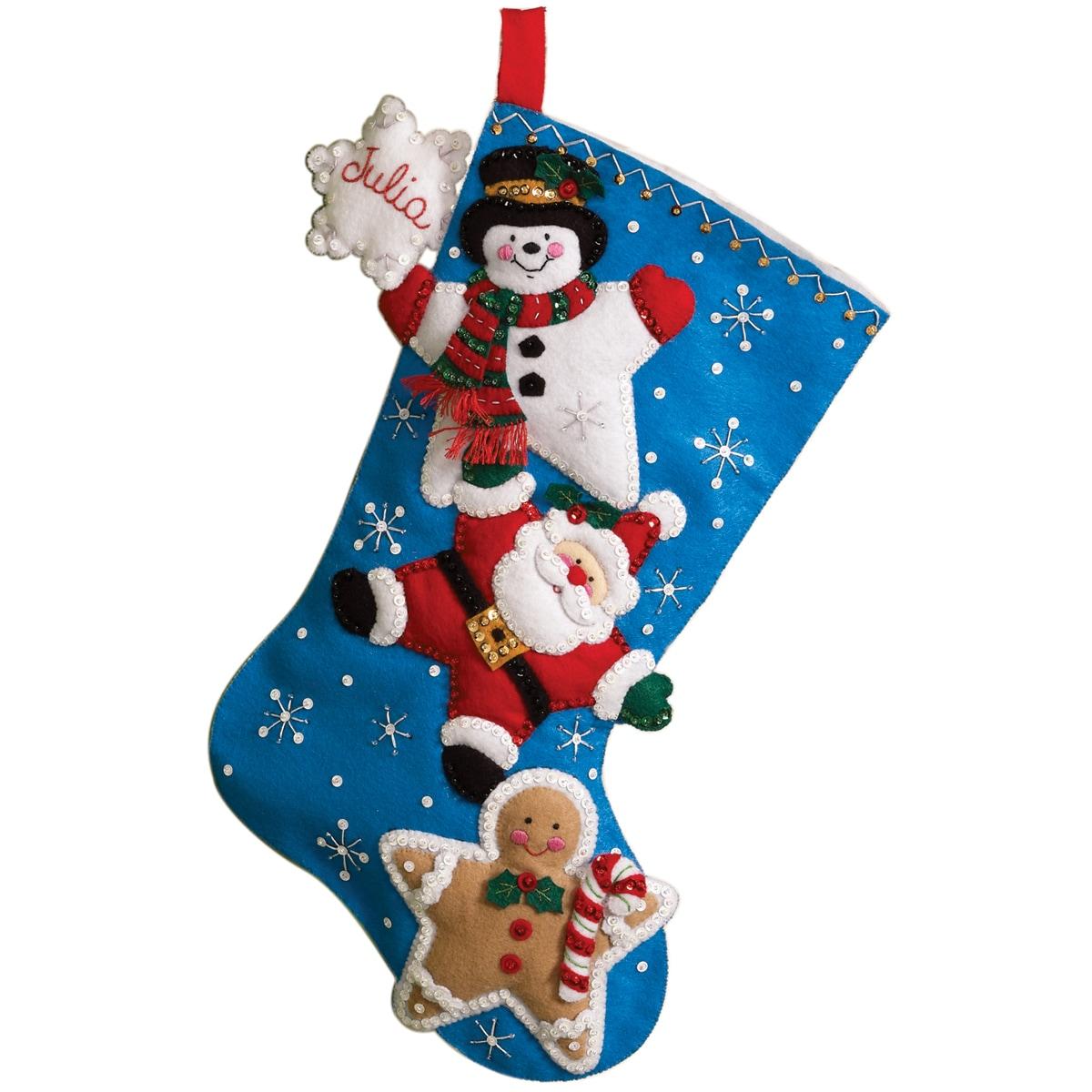 """Christmas Stars Stocking Felt Applique Kit-18"""" Long"""