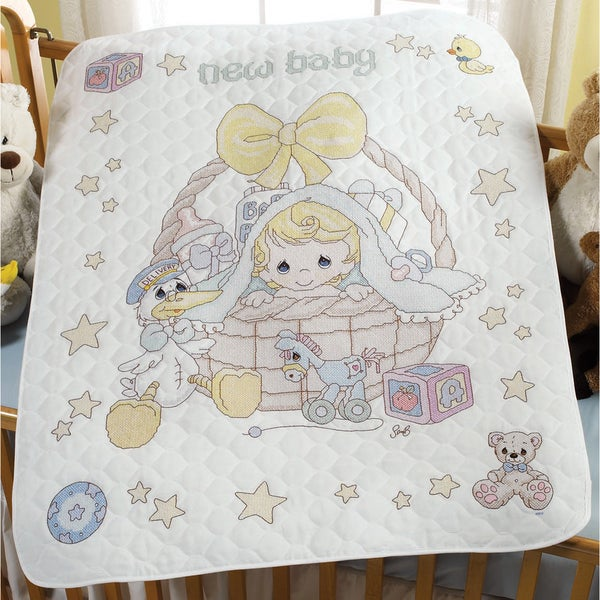 Precious Moments Crib Cover Stamped Cross Stitch Kit-34x43