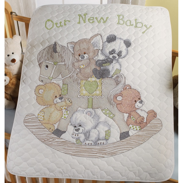 Rocking Horse Bears Crib Cover Stamped Cross Stitch Kit-34X43