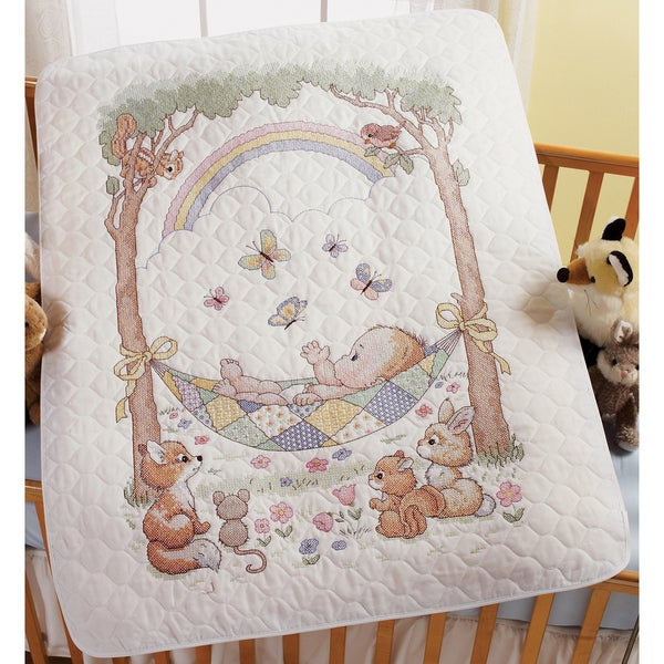 "Our Little Blessing Crib Cover Stamped Cross Stitch Kit-34""X43"""