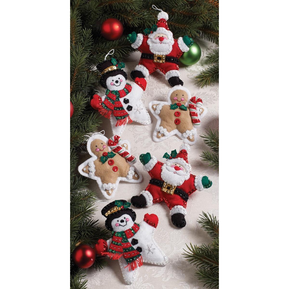 "Christmas Stars Ornaments Felt Applique Kit-5""X5"" Set Of 6"