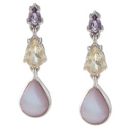 La Preciosa Sterling Silver Amythest, Citrine and Pink MOP Teardrop Earrings
