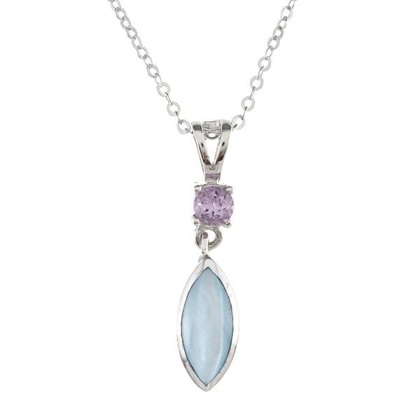 La Preciosa Sterling Silver Blue MOP and Amethyst Marquise Necklace