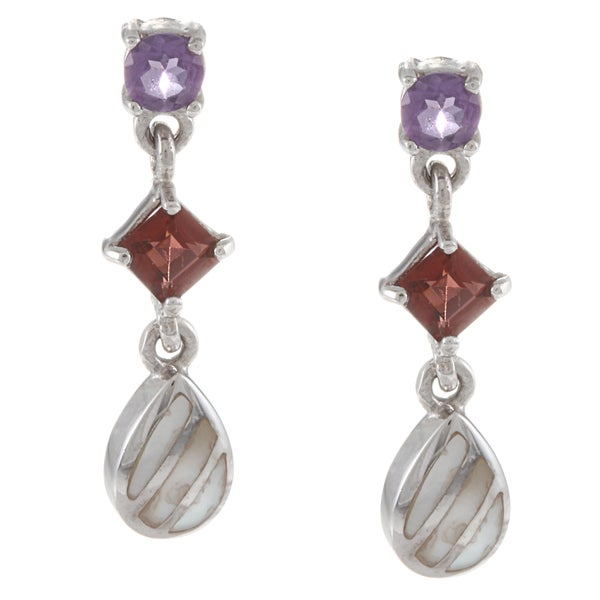 La Preciosa Sterling Silver Amethyst, Garnet and Striped MOP Earrings