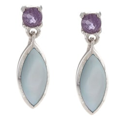La Preciosa Sterling Silver Blue MOP and Amethyst Earrings