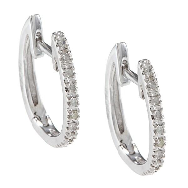 10k White Gold 1/10ct TDW Hoop Diamond Earrings