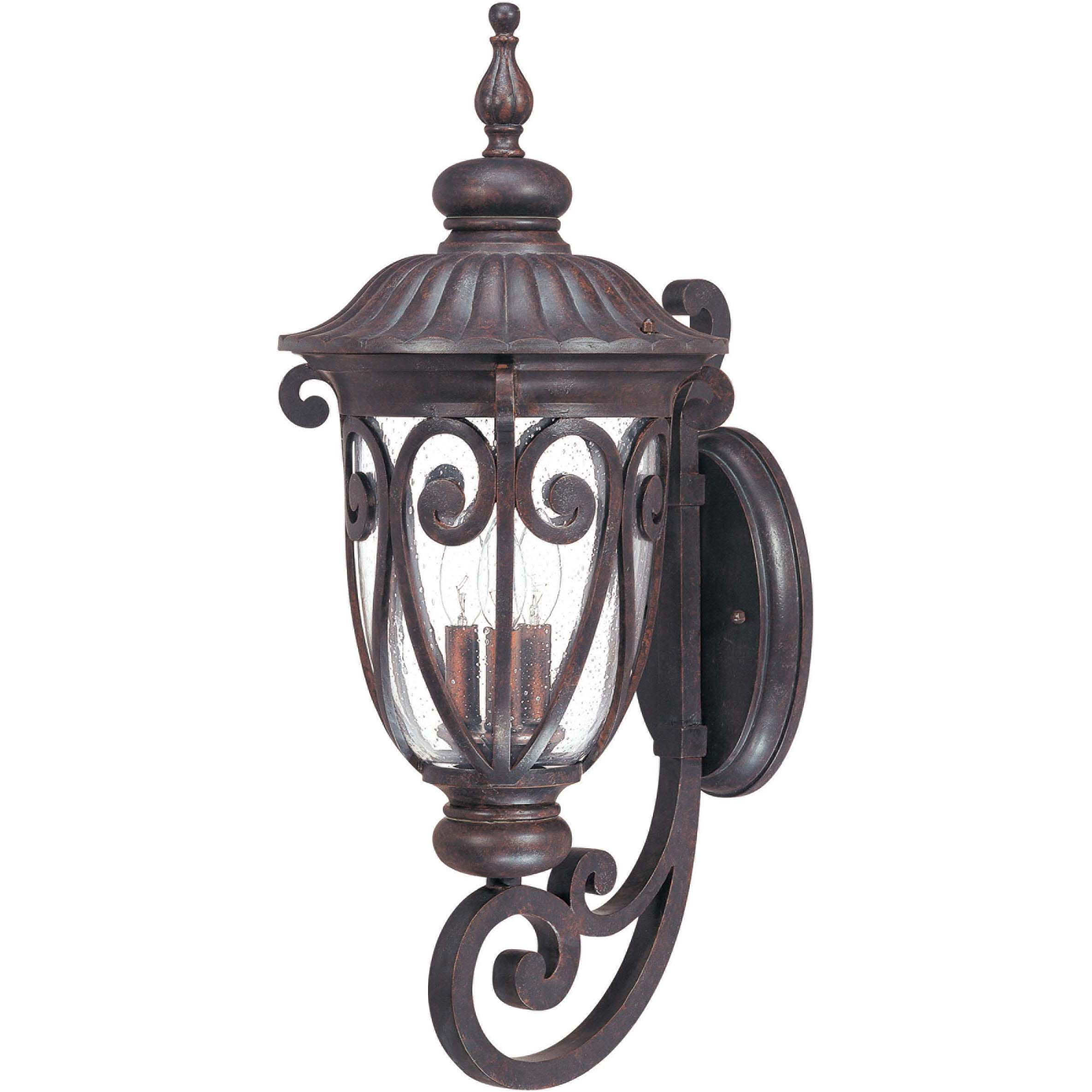 Corniche Arm Up 3-light Burlwood Wall Sconce - Thumbnail 0