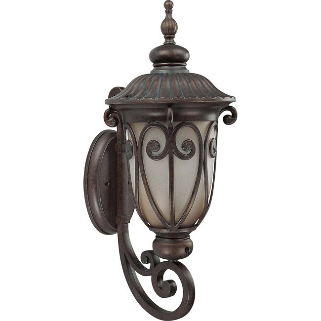 Corniche 1 Light Large Arm Up Burlwood Wall Sconce