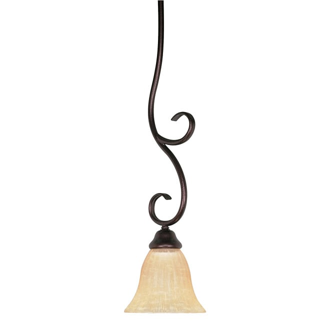Moulan 1-light Copper Bronze Mini Pendant with Champagne Washed Linen