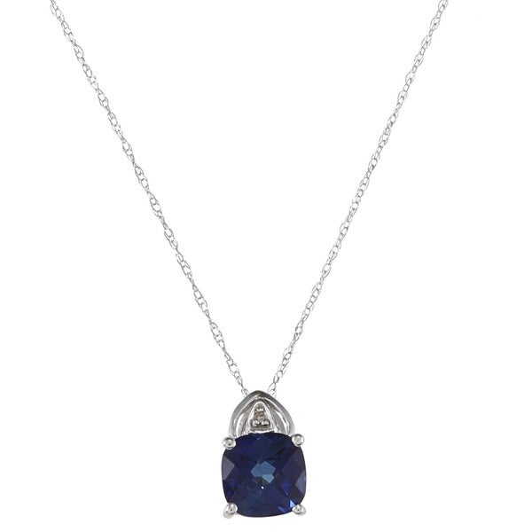 Sofia 10k White Gold Created Sapphire and Diamond Accent Necklace