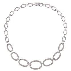 Silvertone 1ct TDW Diamond Graduated Oval Link Fashion Necklace (J-K, I2-I3)
