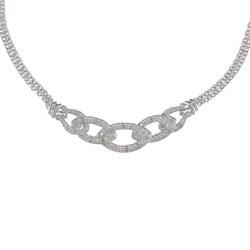 Silvertone 1/4ct TDW Diamond Link Fashion Necklace (J-K, I2-I3)