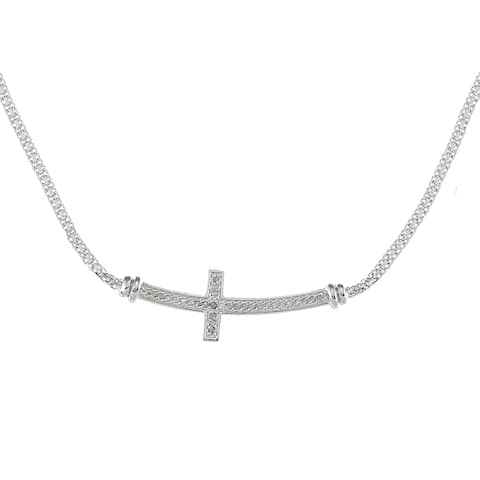 Sterling Silver 1/4ct TDW Diamond Sideways Cross Necklace (J-K, I2-I3)