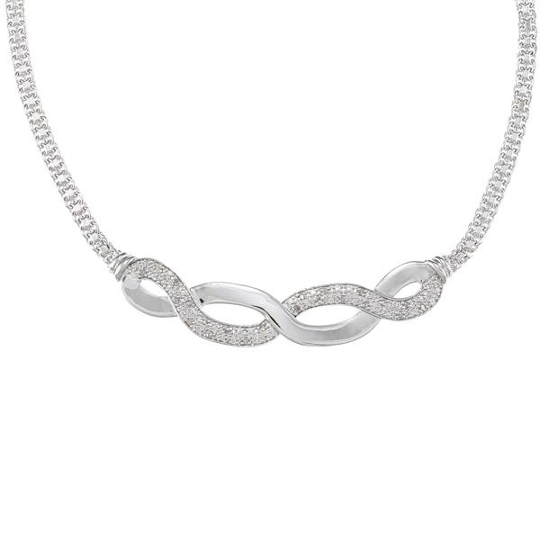 Silvertone 1/4ct TDW Diamond Infinity Fashion Necklace (J-K, I2-I3)