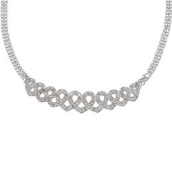 Silvertone 1ct TDW Diamond Heart Infinity Fashion Necklace (J-K, I2-I3)