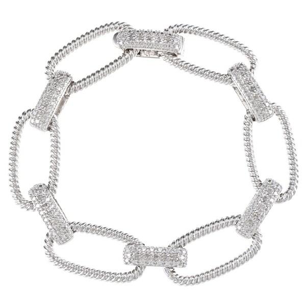 Silvertone 1/4ct TDW Diamond Oval Rope Link Bracelet (J-K, I2-I3)