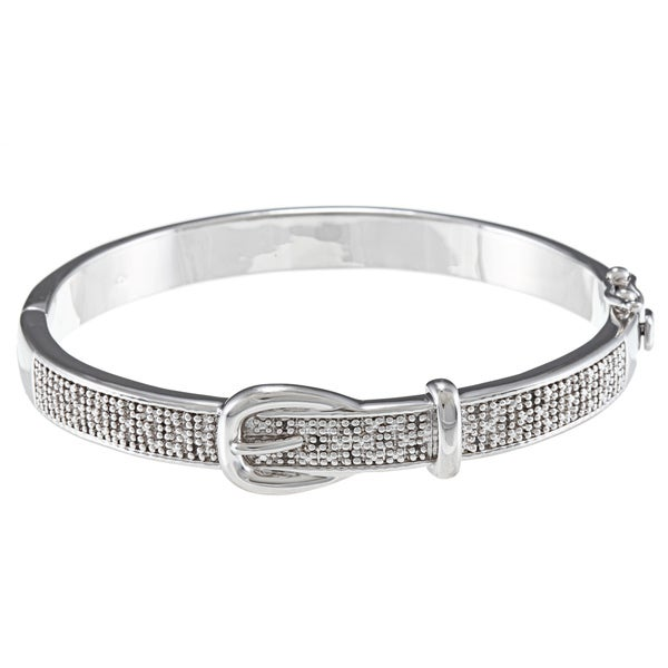 Silvertone 1/4ct TDW Diamond Buckle Design Bangle Bracelet (J-K, I2-I3)