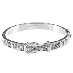 Silvertone 1/4ct TDW Diamond Buckle Design Bangle Bracelet (J-K, I2-I3)