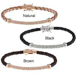 Sterling Silver Woven Leather Diamond Bracelet (J-K, I2-I3)