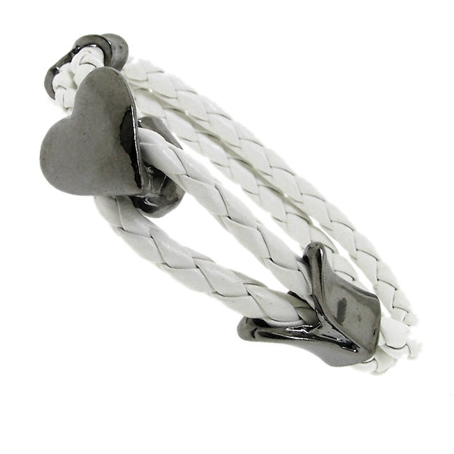 Black-plated and Genuine White Leather Parallel Braid Bracelet