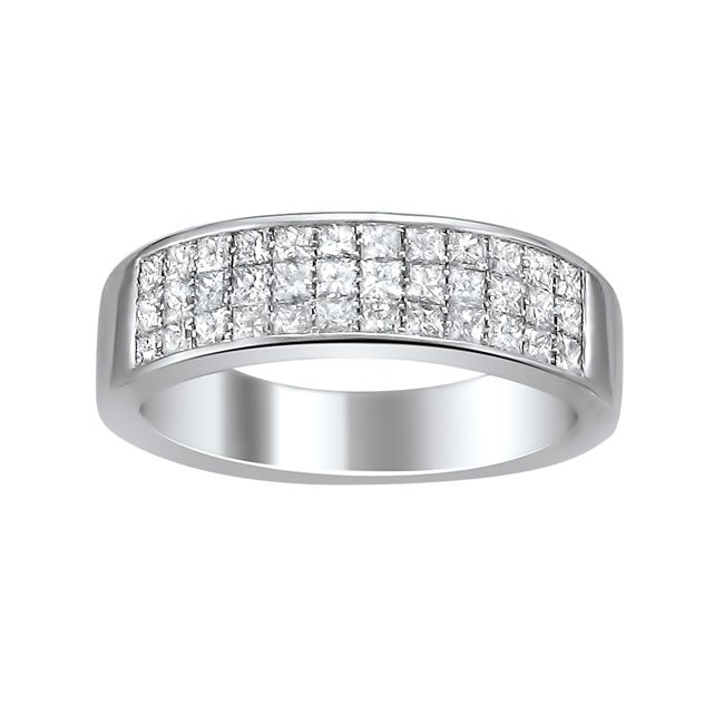 Montebello 14k White Gold 1ct TDW Princess-cut Diamond Pave Band (H-I, I1-I2)