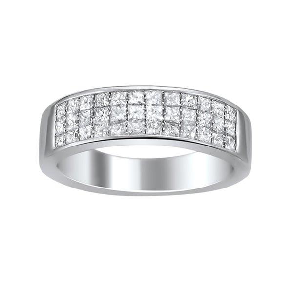 Montebello 14k White Gold 1ct TDW Princess-cut Diamond Pave Band (H-I, I1-I2)