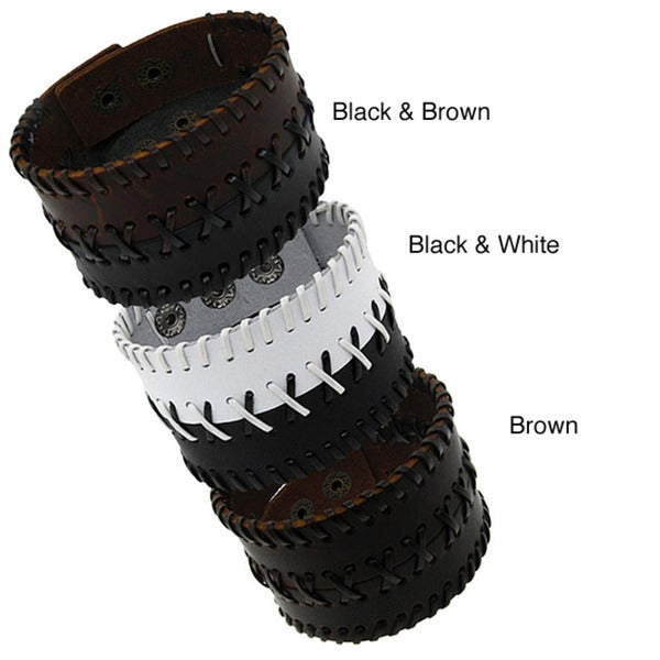Leather Dual Strap Stitched Wide Cuff Bracelet