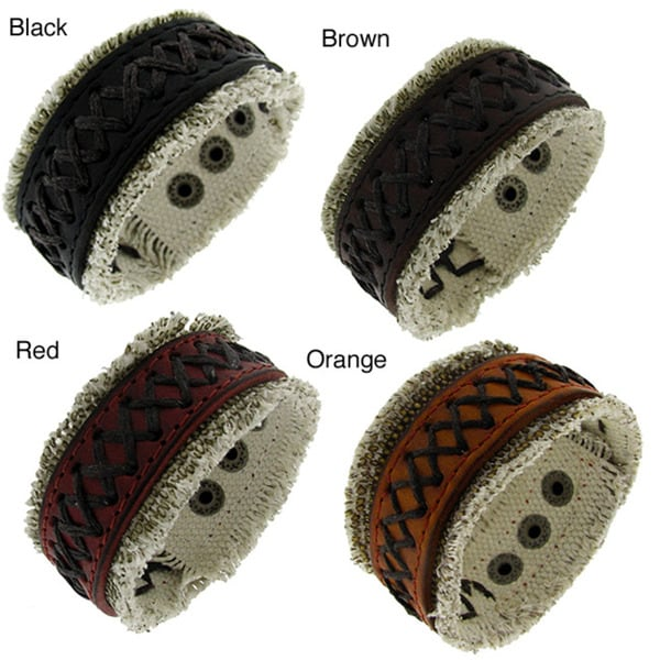 Leather and Woven Cloth Stitched Accent Cuff Bracelet