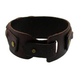 Genuine Brown Leather Wide Cuff Woven Design Bracelet - Thumbnail 1