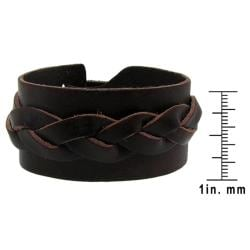 Genuine Brown Leather Wide Cuff Woven Design Bracelet - Thumbnail 2