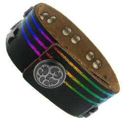 Black Leather, Silvertone Star and Rectangle Stud Rainbow Bracelet - Thumbnail 1