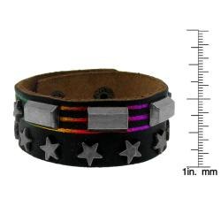 Black Leather, Silvertone Star and Rectangle Stud Rainbow Bracelet - Thumbnail 2